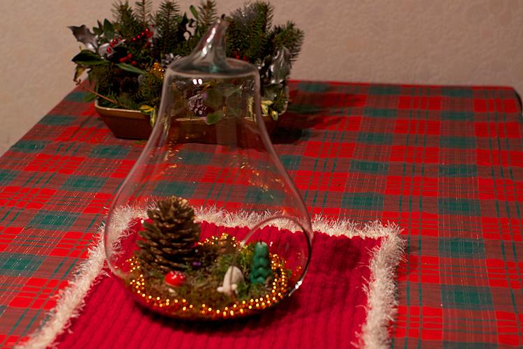 mini-forêt dans une poire en verre