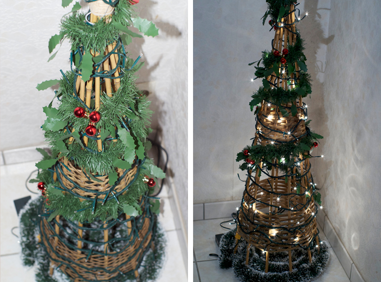 Diy un sapin de no l design avec une structure en osier for Decoration d un sapin de noel