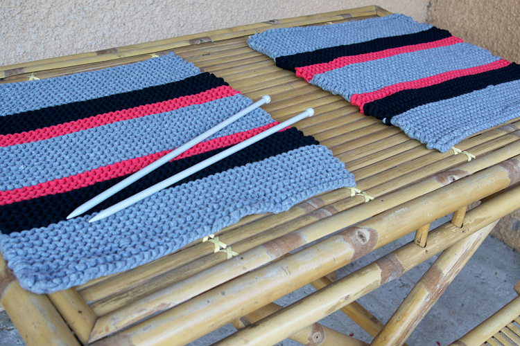 sets de table au tricot en trapilho