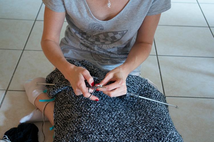 tricot aux aiguilles point de blé