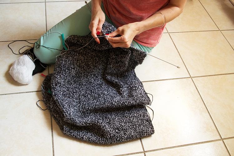 point de blé au tricot