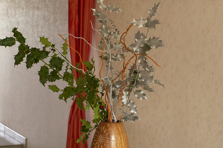 décoration bouquet de houx de noël