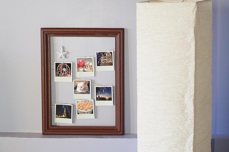 d co accrocher ses polaroids dans un cadre en bois apodioxe. Black Bedroom Furniture Sets. Home Design Ideas