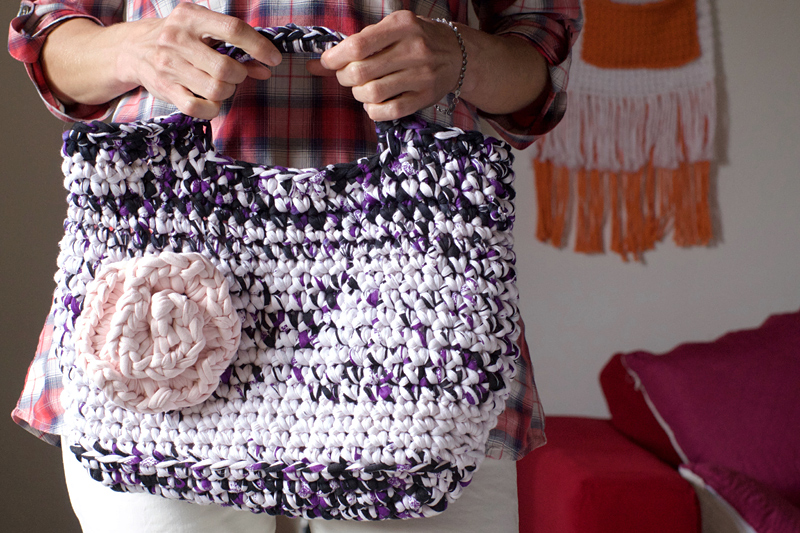 sac cabas au crochet trapilho original