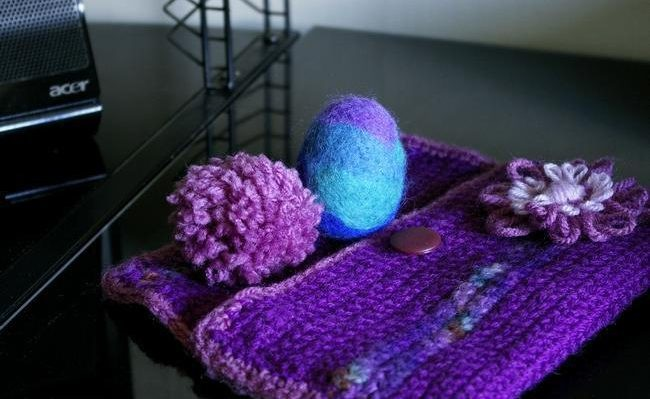 pochette femme crochet laine